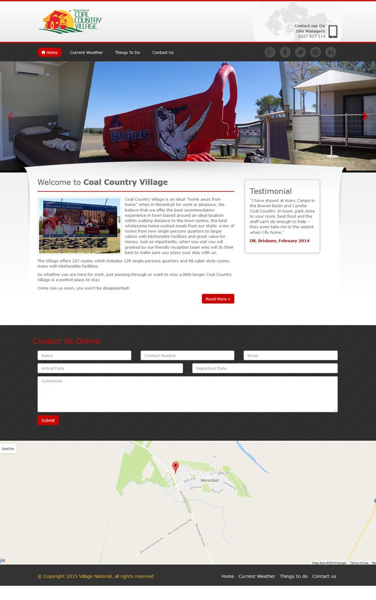 Website design for Coal Country Village Australia